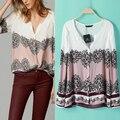Roupas Femininas 2015 новинка женщины с длинным рукавом блузка свободного покроя широкий печать Большой размер рубашка массимо моно Mujer