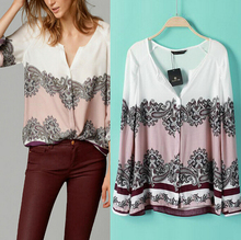 Roupas Femininas 2015 New Fashion Women Long Sleeve Blouse Casual Loose Print Plus Size Shirt Massimo Mono Mujer
