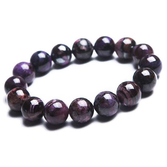 15mm South African Genuine Natural Purple Sugilite Healing Gem Stone Stretch Charm Bracelet For Women Femme Round Beads Bracelet