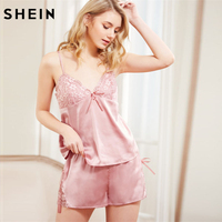 SHEIN Pink Summer Pajamas For Women Floral Lace Detail Spaghetti Strap Bralette Cami Top With Shorts