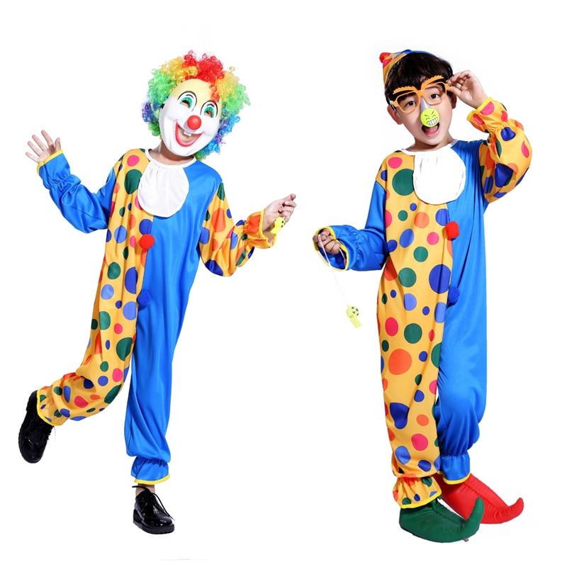 Gratis frakt Halloween barns clown kostym maskerad prestanda kläder - Maskeradkläder och utklädnad