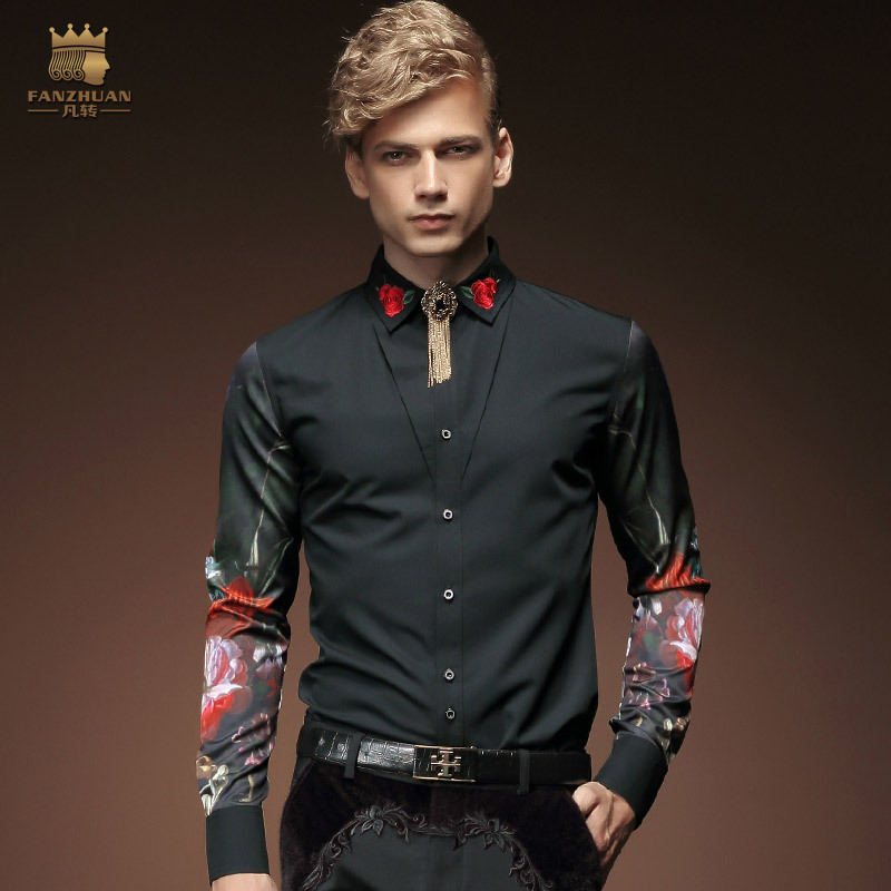 FANZHUAN Mens Clothing  Long Sleeves Tuxedo Shirts Fashion Vintage Trend Embroidery Printing Clothes Banquet Show Host Shirt