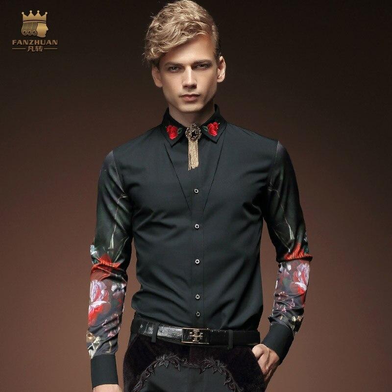 Buy fanzhuan mens clothing long sleeves for Mens dress shirt monogram location