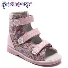 Princepard/ г. Новая летняя ортопедическая обувь для девочек, кожаные ортопедические сандалии для детей, размер 21-36, розовые сандалии с принтом для детей