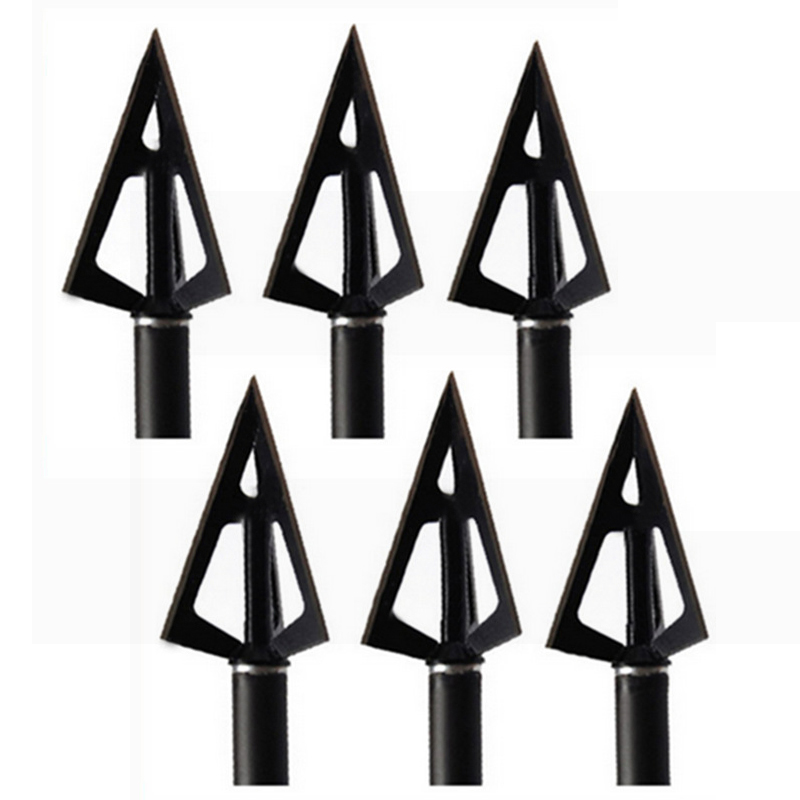 6Pcs Black 3 Fixed Blades Sharp Stainless Steel Broadheads Arrow Head Hunting Shooting 100 Grain Archery Arrowheads Tip Target
