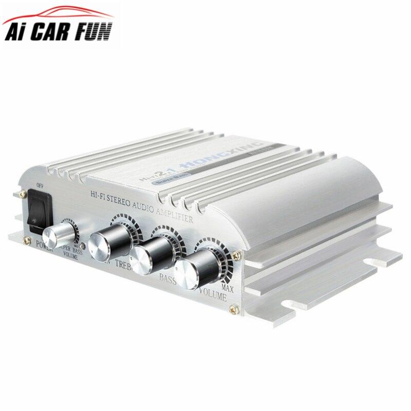 Hi-Fi 2.1 Stereo Audio Car Amplifier Booster Subwoofer Low distortion Hi-Fi Ster