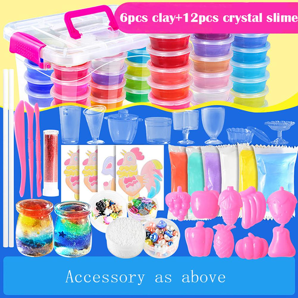 Ultra-light Clay 12-color Fluffy Slime Crystal Mud Set Soft Model Children's DIY Toy Gift Polymer Plasticine Clay