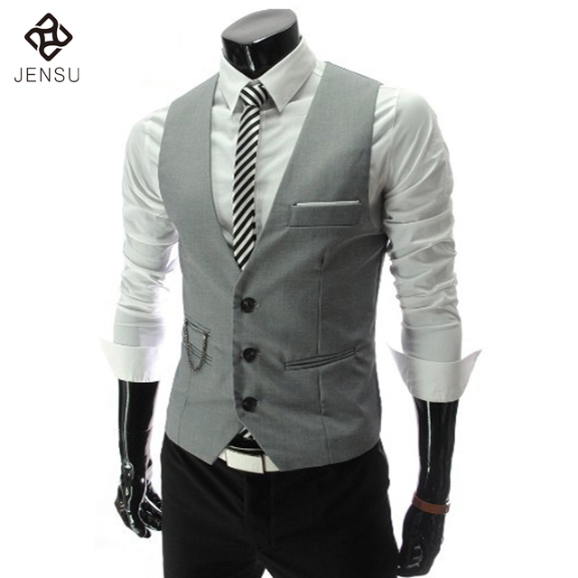 2016 New Arrival Men Business Suit Vest Slim Dress Vests Men's Fitted Leisure Waistcoat Casual Jacket Tops Three Buttons