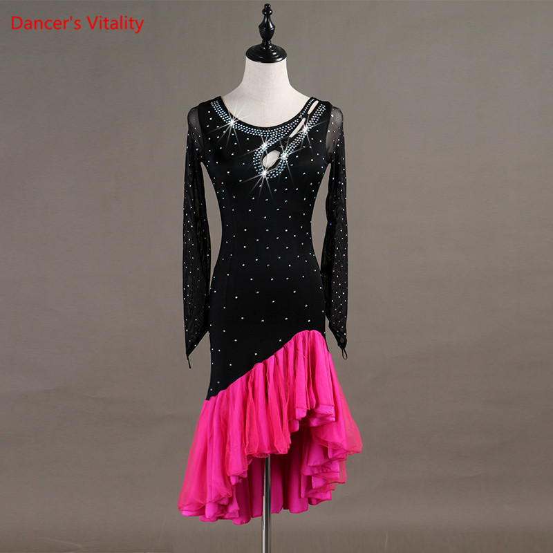 2018 New Women Latin Dance Dress Luxury Diamond Ruffles Dresses Lady Girls Latin Ballroom Dance Stage Performance Costumes