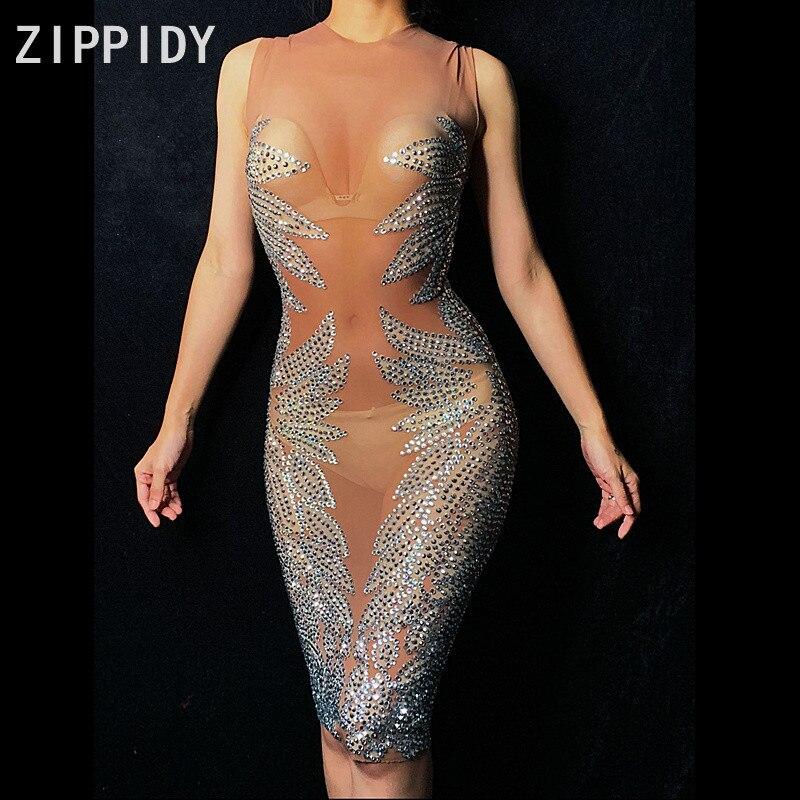 Sparkly Silver Rhinestones ตาข่ายเซ็กซี่ดูผ่านชุดไนท์คลับนักร้องชุดเต้นรำผู้หญิงวันเกิดฉลองชุด-ใน ชุดเดรส จาก เสื้อผ้าสตรี บน AliExpress - 11.11_สิบเอ็ด สิบเอ็ดวันคนโสด 1