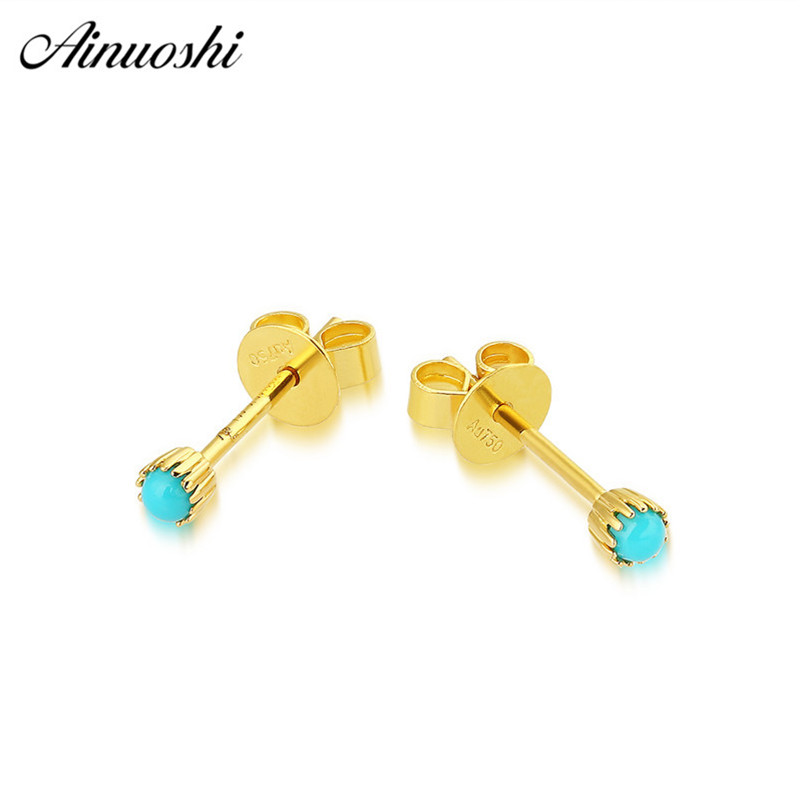 AINUOSHI 2018 New 18K Pure Gold Stud Earring Rose Yellow Gold Natural Stone Turquoises Women Party Fine Jewelry Mini Earring AINUOSHI 2018 New 18K Pure Gold Stud Earring Rose Yellow Gold Natural Stone Turquoises Women Party Fine Jewelry Mini Earring