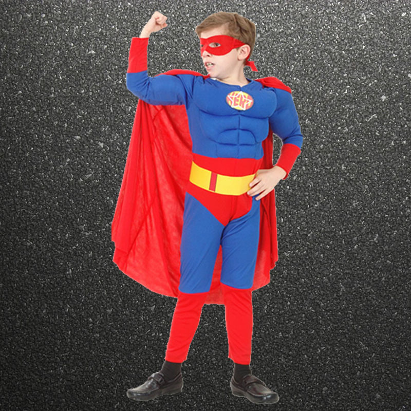 CaGiPlay high quality children muscle superman costume clothes,halloween cosplay party muscle super hero costume ,cape