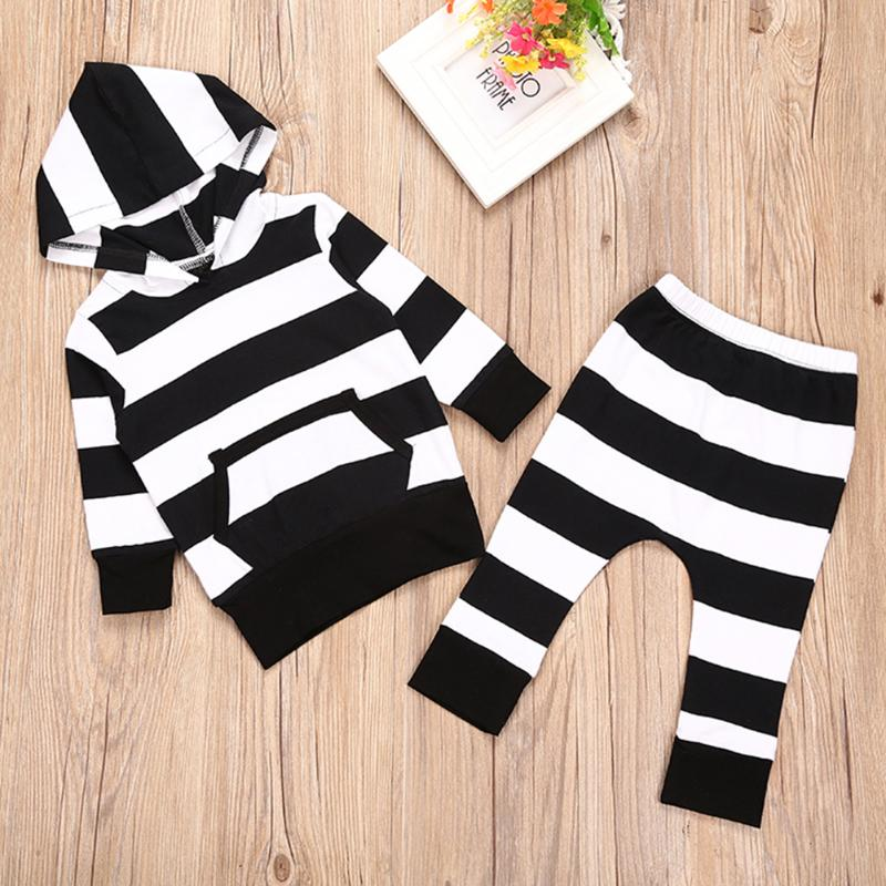 2pcs Baby Clothes Set Baby Unisex Black White Stripe Long Sleeve Hoodies Tops+ Pants Oufits Boys Girls Cotton Clothing 2pcs children outfit clothes kids baby girl off shoulder cotton ruffled sleeve tops striped t shirt blue denim jeans sunsuit set