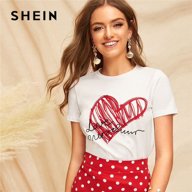 10ed366f2c SHEIN Lady Simple Round Neck Graphic Print White T Shirt Summer Casual  Minimalist Short Sleeve Letter Women Tshirt Tops