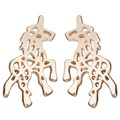 1Pair New Pendant Gold Plated Unicorn Horse Hair Stud Earrings Animal Horse Earring For Pendientes Brincos Bijoux Women