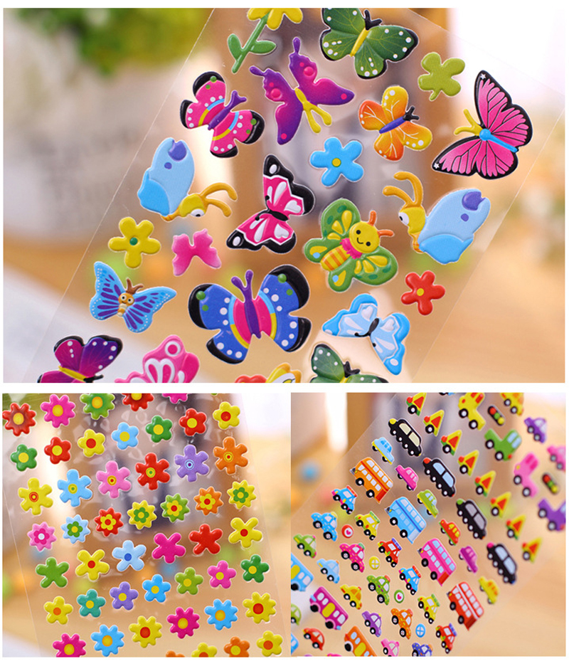 New Cartoon Stickers Children Girl Love Toys Bubble 3D Stickers Flower Animal Love Butterfly PVC Stickers Kids Toys 2 Sheets