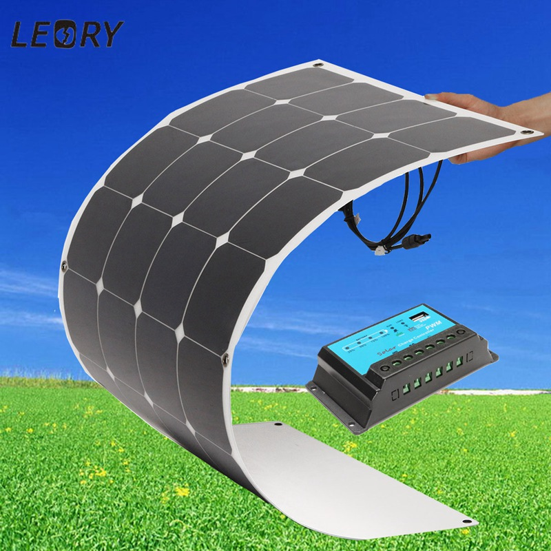 LEORY 100W 18V Semi Flexible Mono Solar Panel+10A 12V/24V Solar Controller Pro For Boat + MC4 Connector Front Cord DIY Board 100w folding solar panel solar battery charger for car boat caravan golf cart