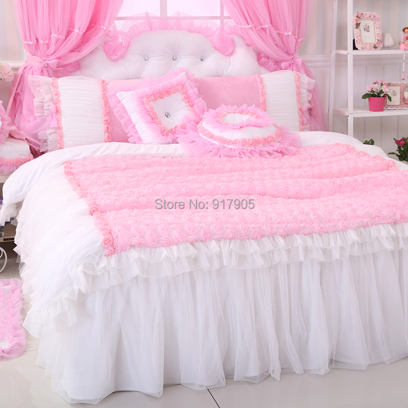Home Textile Romantic Pink Rose Bedding Sets White Pink Bedding Sets  Princess Lace Ruffle Bedding SetPink Bedroom Sets   kts s com. Pink Bedroom Set. Home Design Ideas