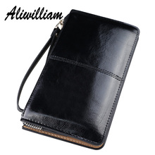 Vintage Zipper Clutch Bag For Women Long Wallets Purse Candy Oil Wax Leather Ladies Cards Money Phone Pocket Handbag 16 Colors