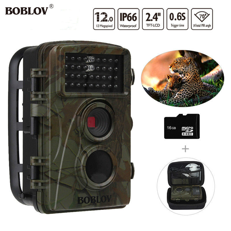 BOBLOV CT007 Hunting Camera 2.4 LCD 70 degree 16GB Digital Trail Camera HD 12MP Wildlife Photo Traps+Bag Security 940nm zkteco tcp ip network c3 200 intelligent two door two way door access control panel controller free software sdk ce