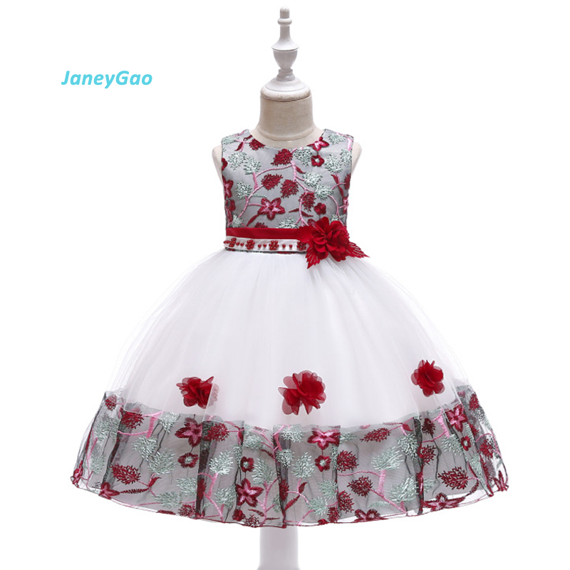 JaneyGao   Flower     Girl     Dresses   2019 Children   Dress   Embroidered With Beads Princess   Dress     Girl   Lace Wedding Party Gown New Arrival