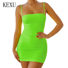 KEXU Brand Women Clothing Sexy Blackless Spaghetti Strap Pleated Mini Dress Summer Sleeveless Hollow Out Nightclub Vestidos