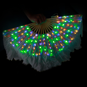 LED Chinese Silk Veil Fan Belly Dance Accessories Rainbow Fan Veil Professional Dance Props 1 Pair Belly Dance Fan Silk Fan Veil
