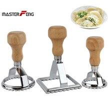 Set von 3 stücke von Platz 7,0 Runde 5,0 cm und runde 6,5 cm Italienische Pasta Cutter Ravioli Stempel Mit Strand Holz griff