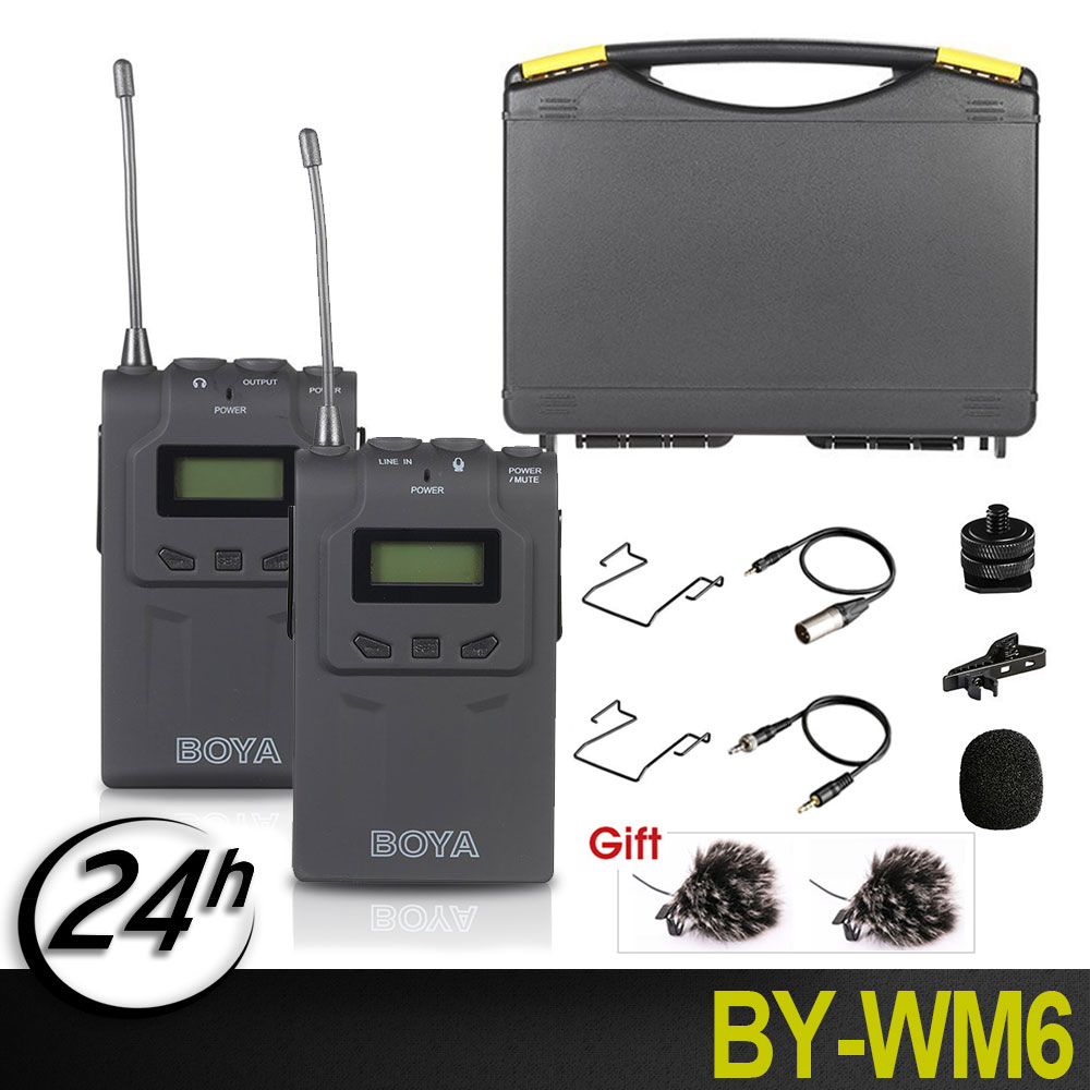 BOYA BY-WM6 Wireless Microphone System 48 Channel Omni-directional Lavalier Microphone for Canon Nikon Sony DSLR  Audio RecorderBOYA BY-WM6 Wireless Microphone System 48 Channel Omni-directional Lavalier Microphone for Canon Nikon Sony DSLR  Audio Recorder