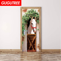 Decorate Home trees leaf white horse art wall sticker decoration Decals mural painting Removable Decor Wallpaper LF 552