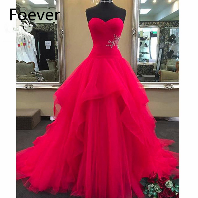 2018 Ball Gowns Prom dresses Long with Beaded Sweetheart Women's dress for graduation Tulle Formal Evening Prom Dress for Women