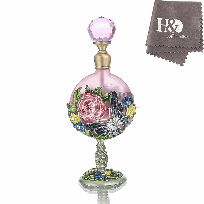 H&D Wedding Decoration Perfume Bottle Antiqued Style Retro Hollow Flower Inlaid With Butterfly Glass Empty Perfume Container 7ML дезодорант hongkong 2015 100 d perfume d
