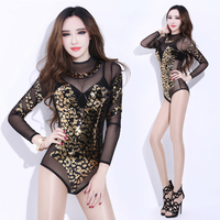 Gold Sequin Bodysuit Women Bar Nightclub Stage Costumes For Singers Dj Pole Dancing Combination Perspective Jazz Dance Costume