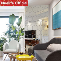 Many irregular geometric shapes acrylic mirror stickers living room ceiling porch TV sofa background decoration wall stickers