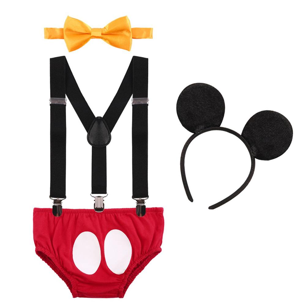 Cake Smash Outfit Baby Birthday Clothes Cute Mickey Mouse Cosplay Costume 1st Birthday Outfit for Boy Baby Photography Props