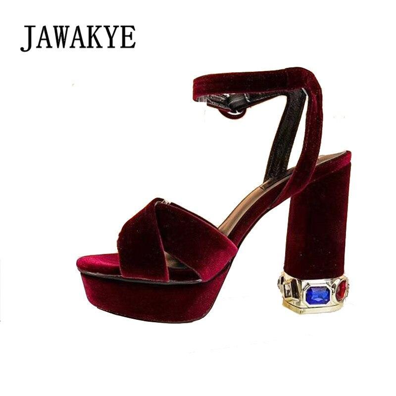 セクシーなメタリックシルバーハイヒールプラットフォームサンダル夏ストラップ宝石挿入ブロックヒールオープントゥグラディエーターシューズ女性  グループ上の 靴 からの ハイヒール の中 1