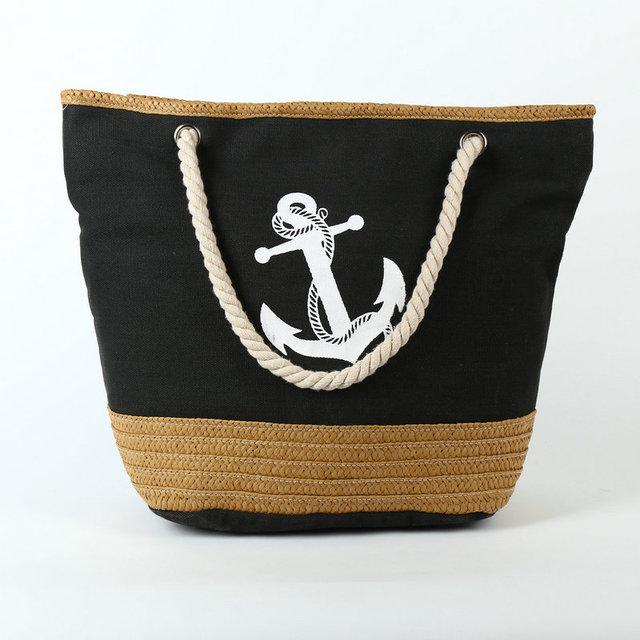 Rdywbu 2017 Summer Anchor Strips Printing Canvas Tote Bag Women's Navy Style Rope Travel Bag Straw Weave Shopping Beach Bag B134