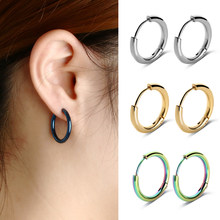2019 New Arrival 1 Pair Men's Women's Stainless Steel Tube Ear Studs Hoop Huggie Punk Earrings Simple Fashionable Jewelry(China)