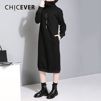 CHICEVER High Collar Plus Velvet Dress Female Tunic Long Sleeve Loose Big Size Warm Pullovers Black