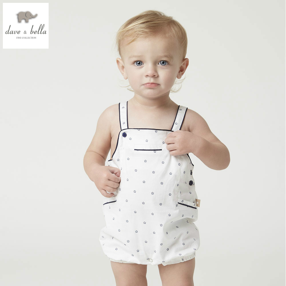 DB4997 dave bella summer new born baby girls boys cotton romper childs infant romper kids lovely rompers 1 pc children romper kids ruffle tie neck striped romper
