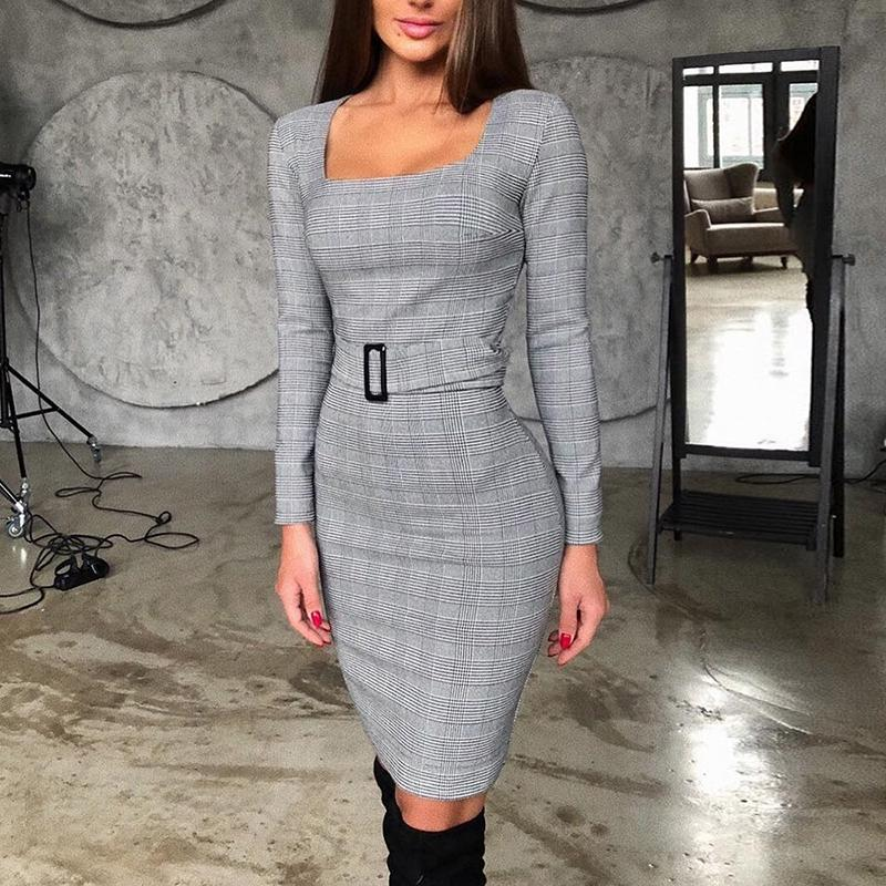 2020 Women Fashion OL Style Elegant Midi Bodycon Party Formal Dress Work Square Neck Grid Belted Long Sleeve Dress