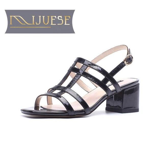 MLJUESE 2018 delle donne sandali in pelle di mucca colore Nero open toe Gladiatore sandali di estate delle donne di formato 33-43 scarpe casual