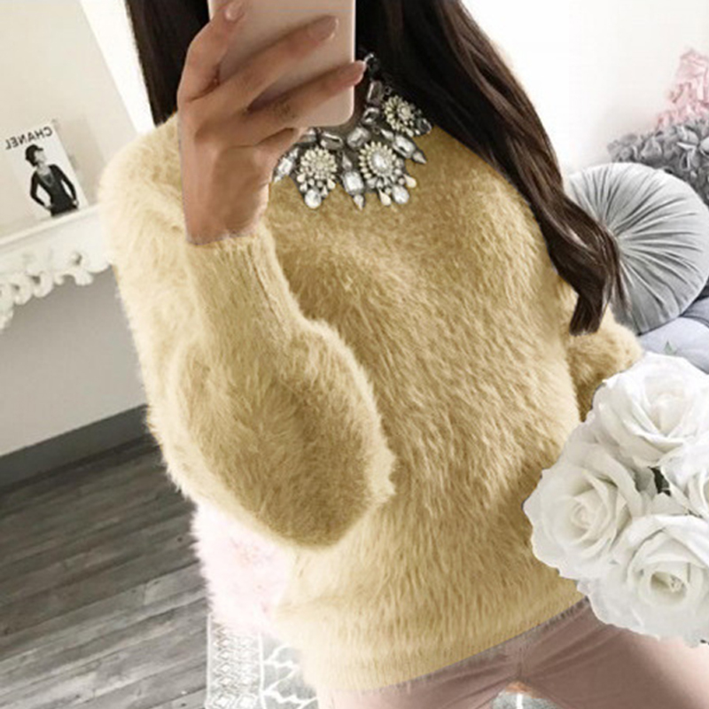 2018 New Warm Winter Sweater Velvet Casual Long Sleeve Gray Yellow Female Plush Pullovers Sweaters Autumn Fashion Women Clothes