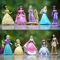 10 pçs/lote boneca Princesa Jasmine Rapunzel Sereia Ariel Cinderela Branca de Neve Belle princesa Figuras de brinquedo do bebê para meninas