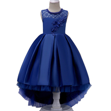 Kids Party Dress Summer Flower Lace Girls Wedding Pageant Dresses Princess Formal Prom Gowns 3 5 6 8 10 12 14 years