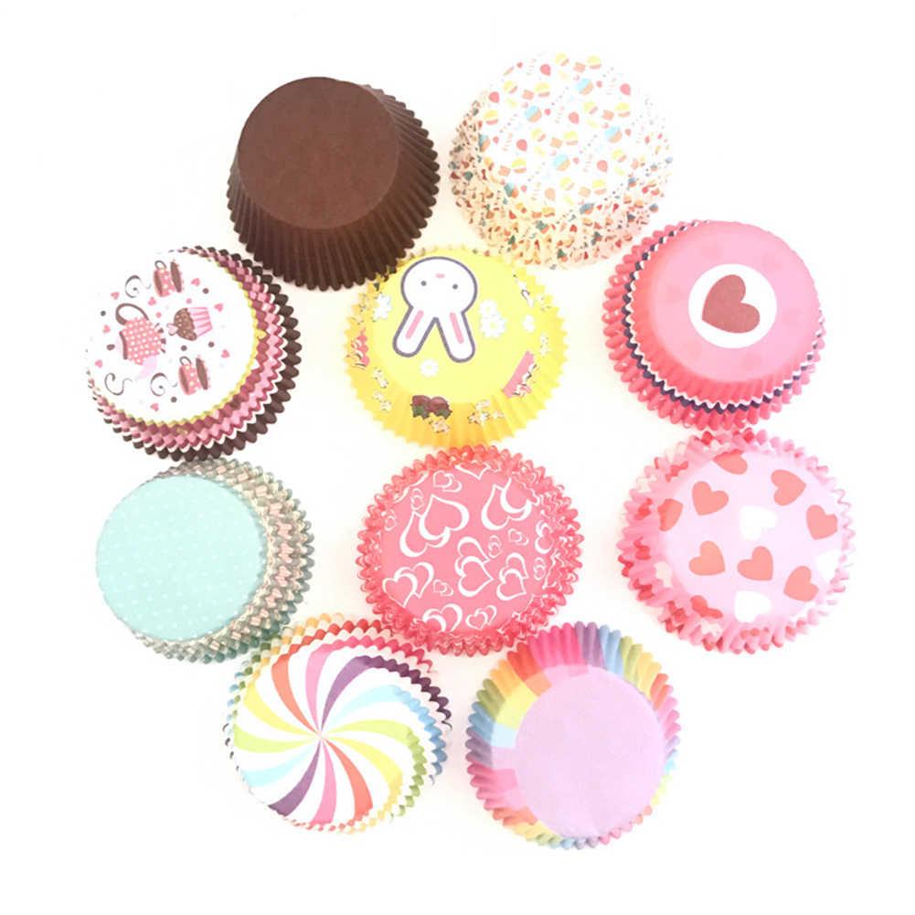 100PCS Bunte Papier Kuchen Cupcake Liner Backen Muffin Box Tasse Fall Party Tablett Kuchen Form Dekorieren Werkzeuge Cupcake Papier 2018 neue
