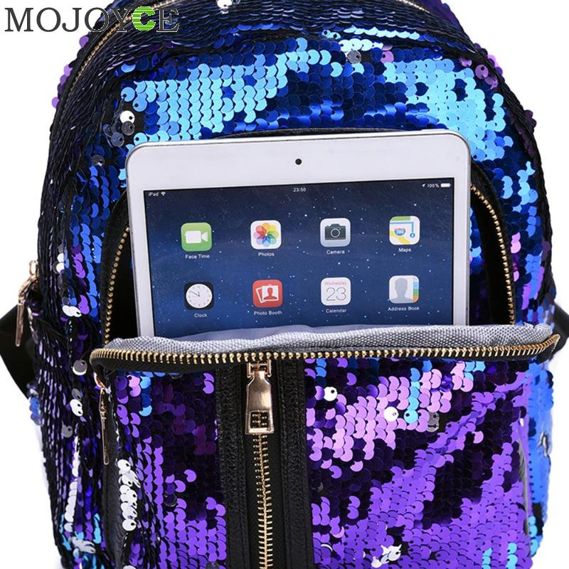 2pcs/set Glitter Sequins Backpack New Teenage Girls Fashion Bling Rucksack Students School Bag With Pencil Case Clutch Mochilas #5