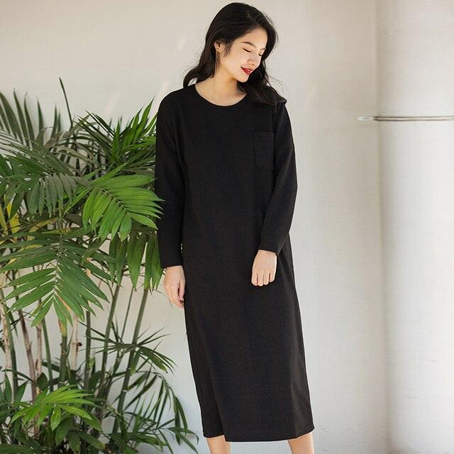 Verragee Vintage Women Loose Dress Long Spring Winter New 2018