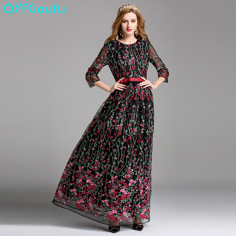 QYFCIOUFU High Quality Runway Maxi Dress Women's Long Sleeve Elegant Designing Tulle Floral Embroidered Black And Pink Dress