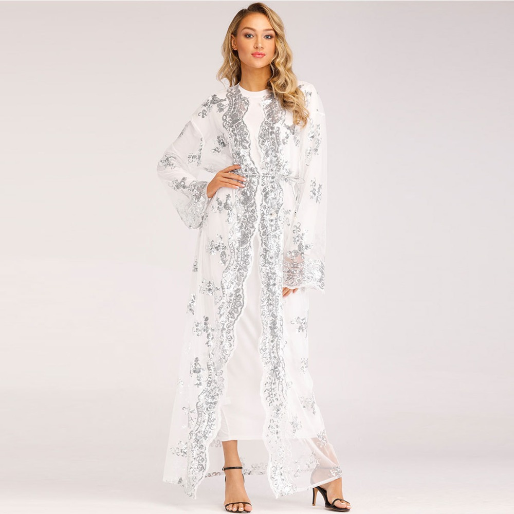 Women's Clothing Amiable Muslim Dress Muslim Women Lace Sequin Tunic Cardigan Maxi Dress Kimono Open Abaya Robe Kaftan Dubai Clothing Musulmana